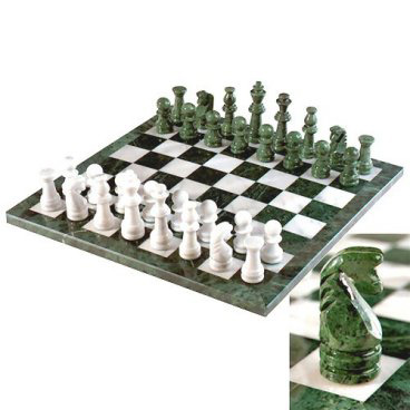 European green white marble chess set - Granite chess pieces ...