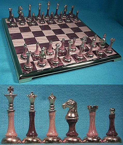 Oak Wood and Gold Plated Metal Modern Contemporary Chess Set