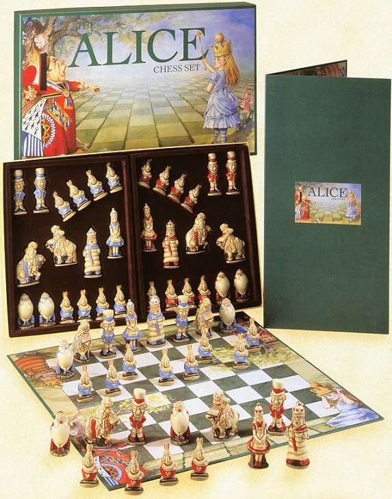 Alice In Wonderland Hand Decorated Chess Set