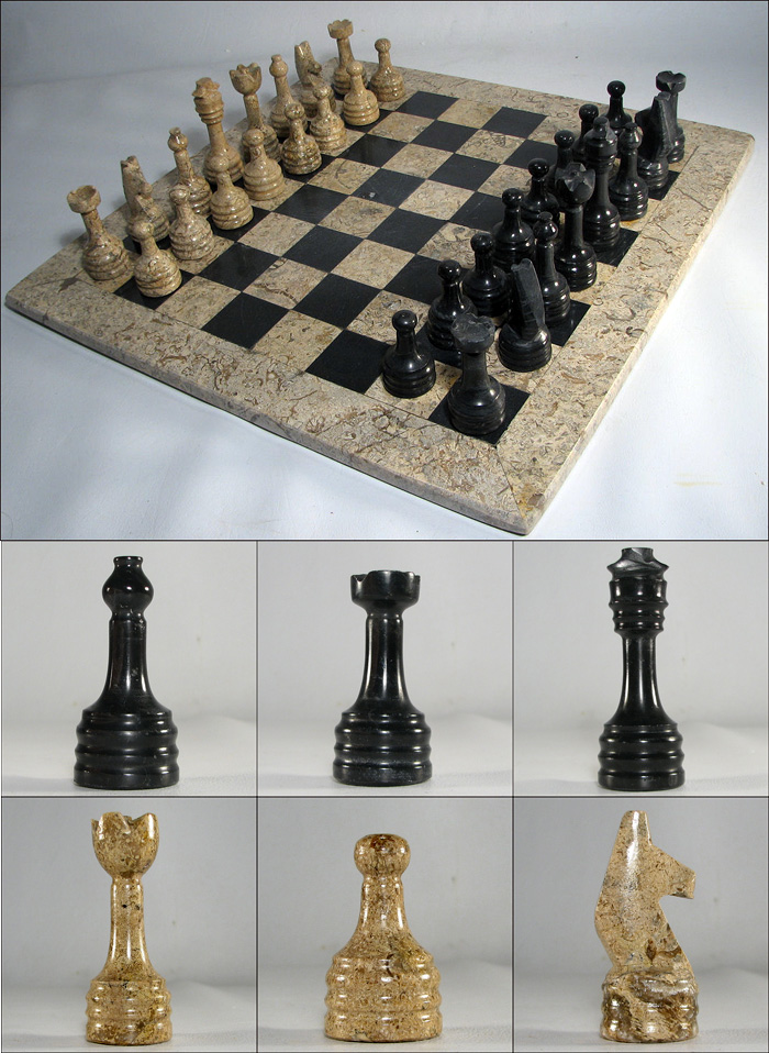 European marble chess set with coral stone and black - Granite chess pieces ...