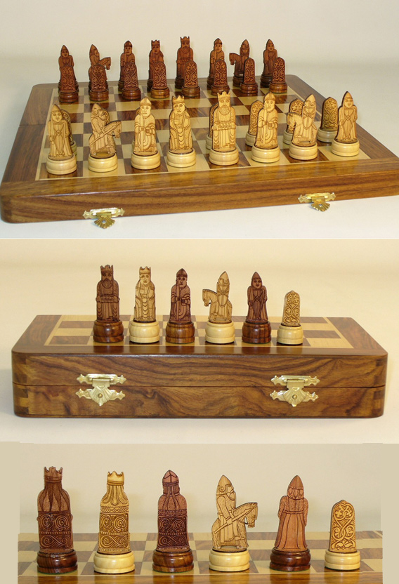Etched Magnetic Wood Chess Set With Vinyl Pouch