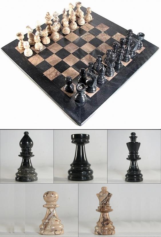 Italian Breccia Rosso & Ebony Marble Chess Set