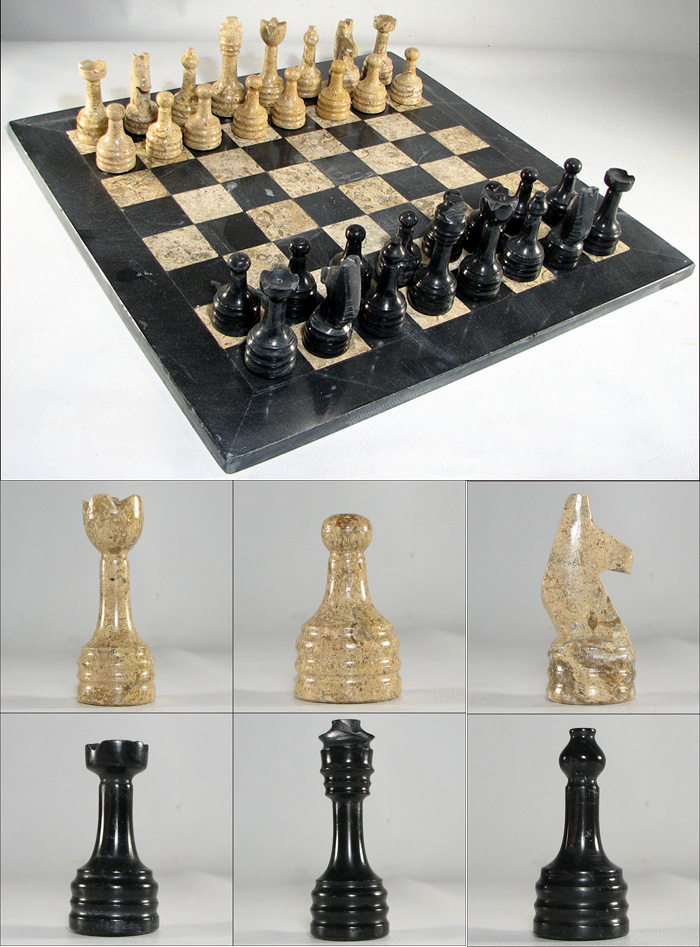 European marble chess set with ebony black and coral stone - Granite chess pieces ...