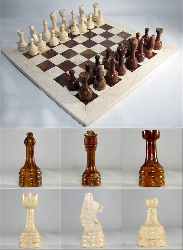 Large Auburn Red & White Frost European Marble Chess Set