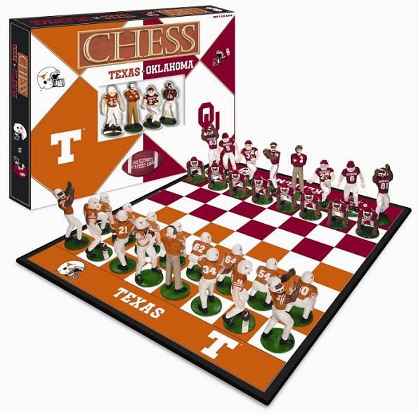 Texas Longhorns  vs Oklahoma Sooners Chess Set