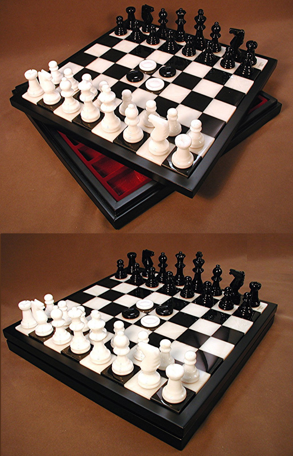 Alabaster Chess & Checkers Game Set