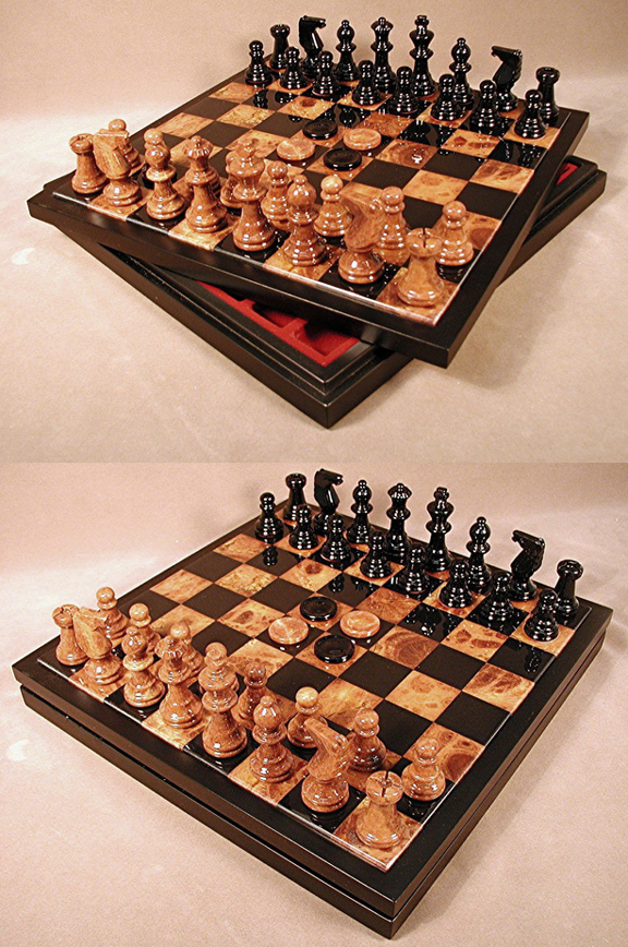 Chess & Checkers Brown & Black Alabaster Game Set