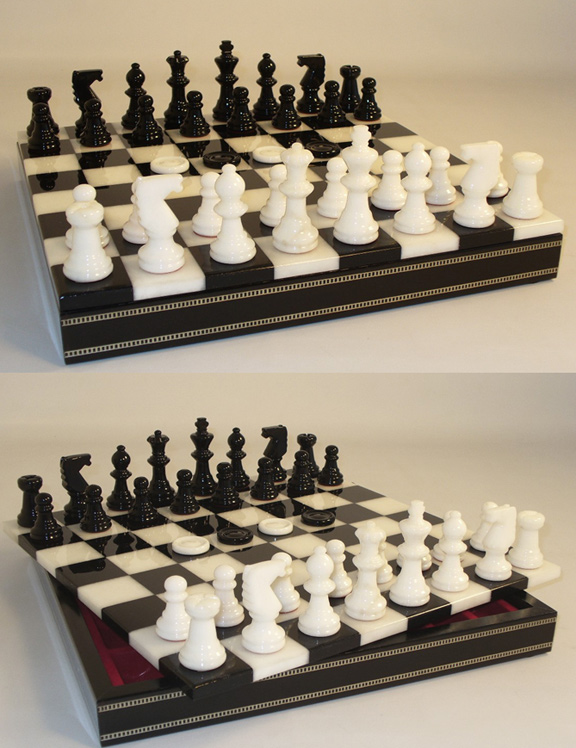 Alabaster Chess & Checkers Combination Set  In Inlaid Wood Chest