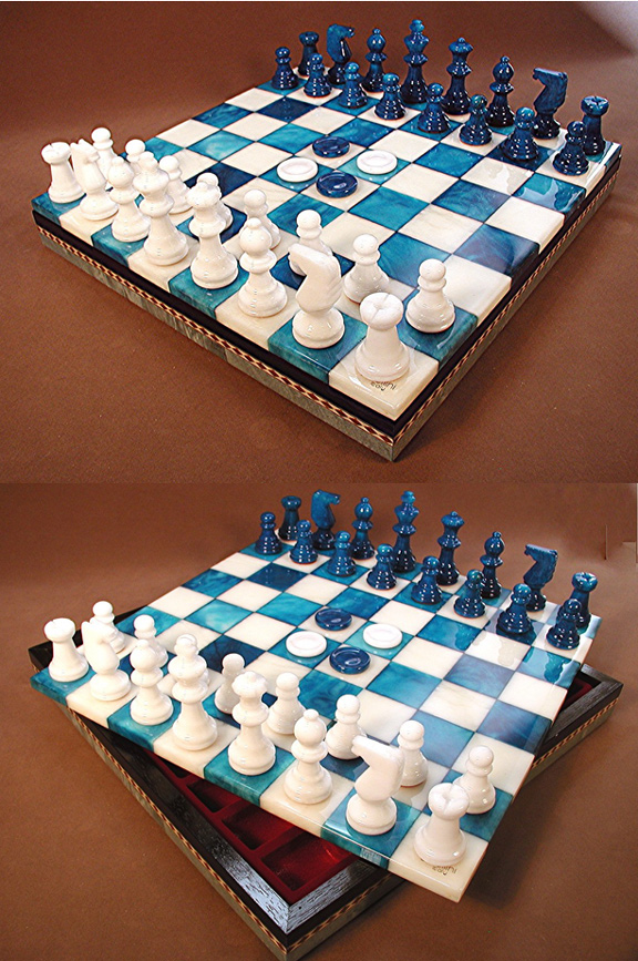 Blue & White Alabaster Chess & Checkers Game Set With Storage Compartment.