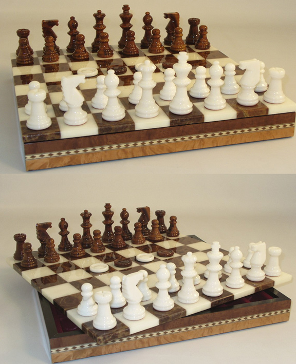 White & Brown Alabaster Chess & Checkers Game Set With 3