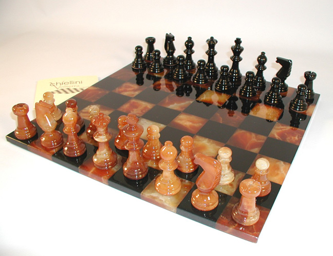 Brown & Black Alabaster Chess Set