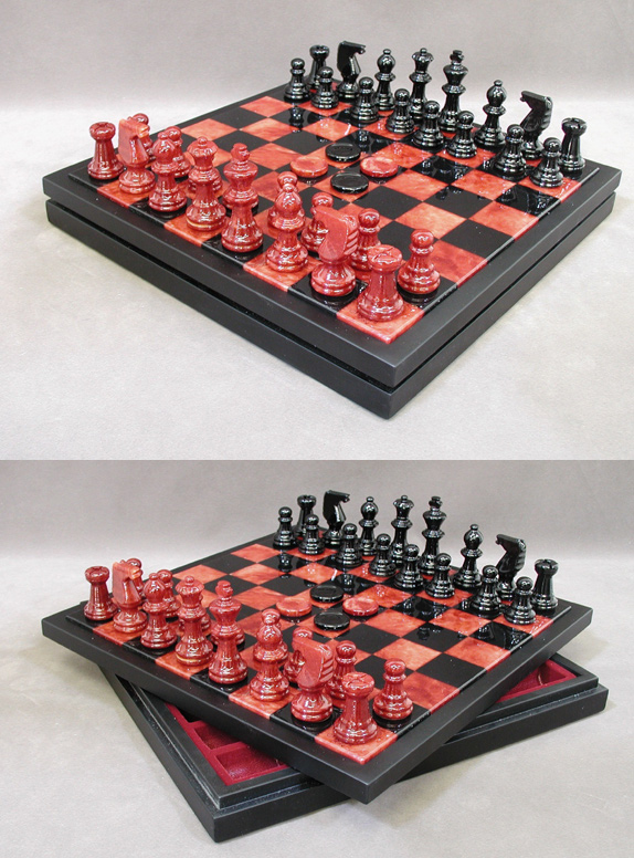 Red & Black Alabaster Chess & Checkers Game Set In Wood Chest.