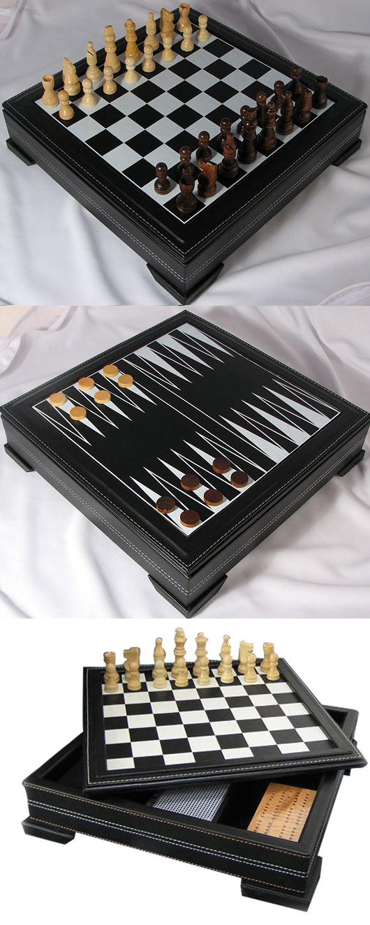 Seven In One Multi-Game Chess Combination Set in Black Leather