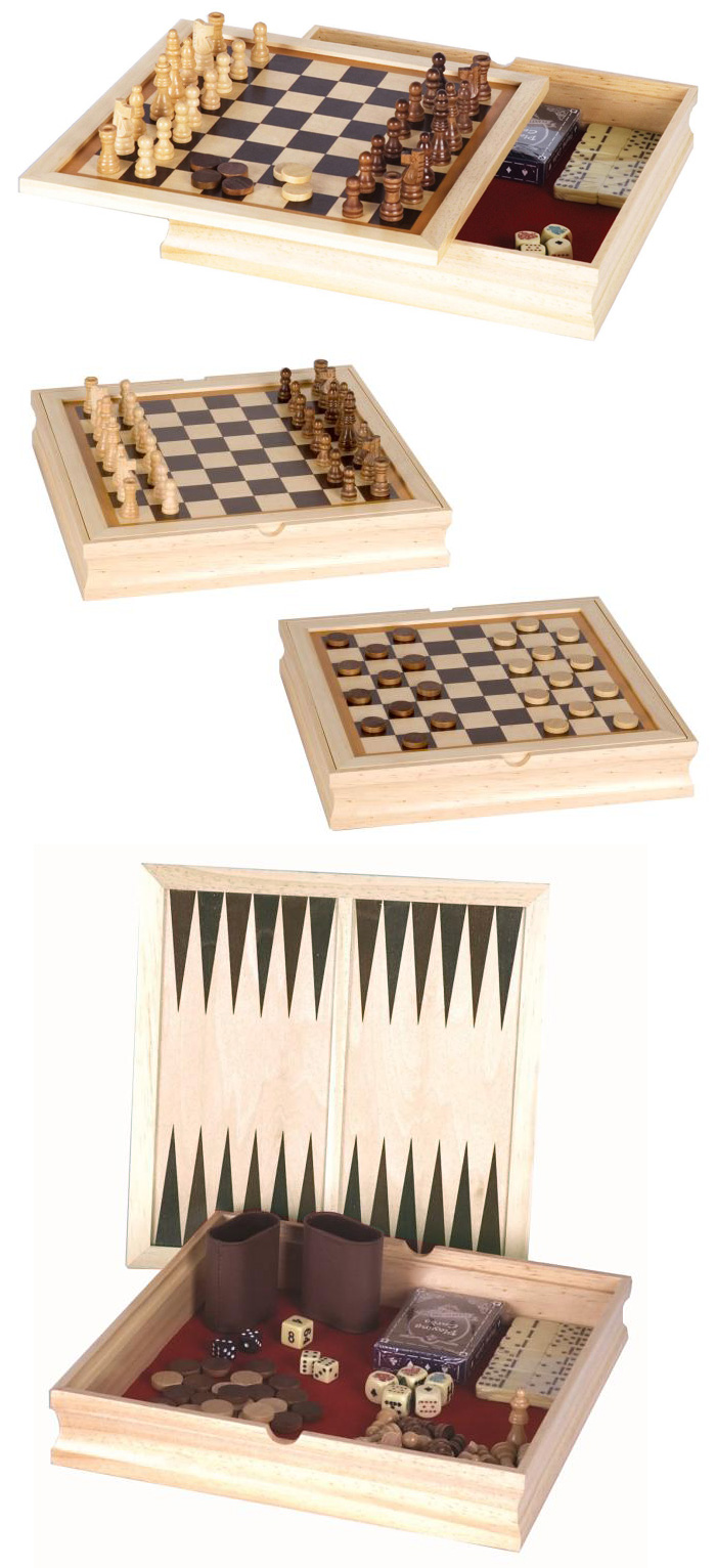 Six in One Multi Game Combo Set - Chess, Checkers, Backgammon, Dominoes, Cards or Cribbage