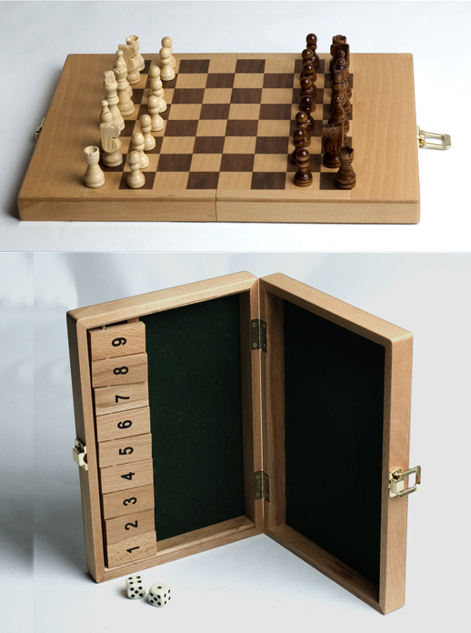 Shut The Box Game & Chess Combination Set