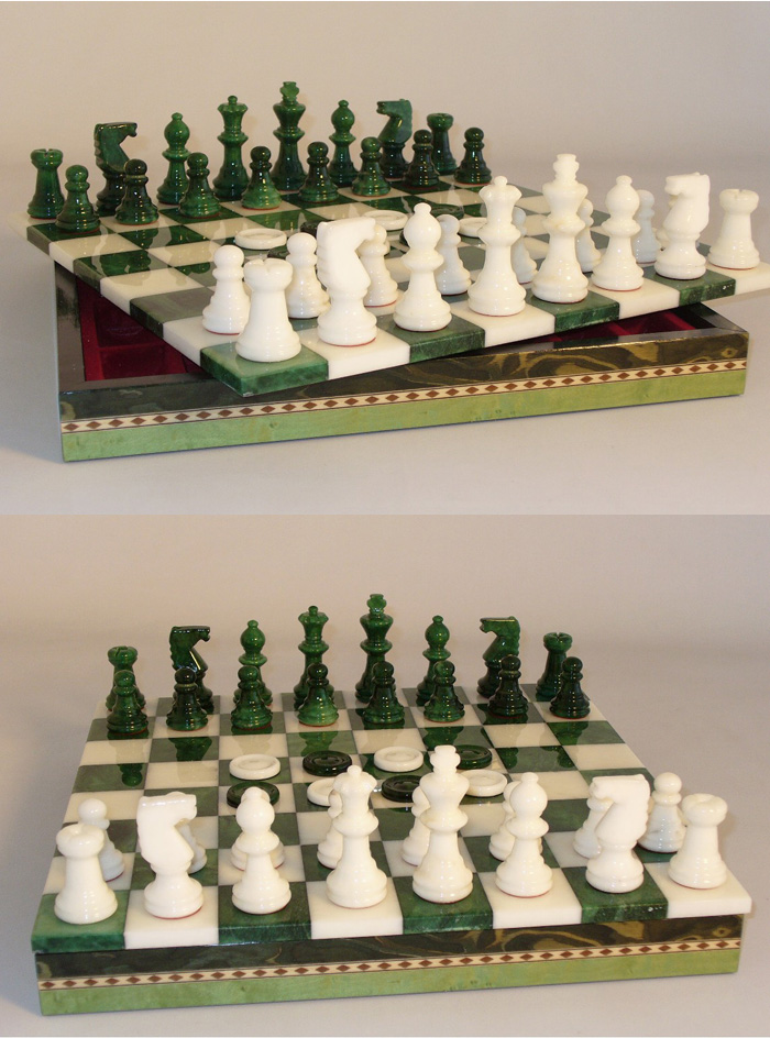 Green & White Italian Alabaster Chess & Checkers Set with Wood Chest