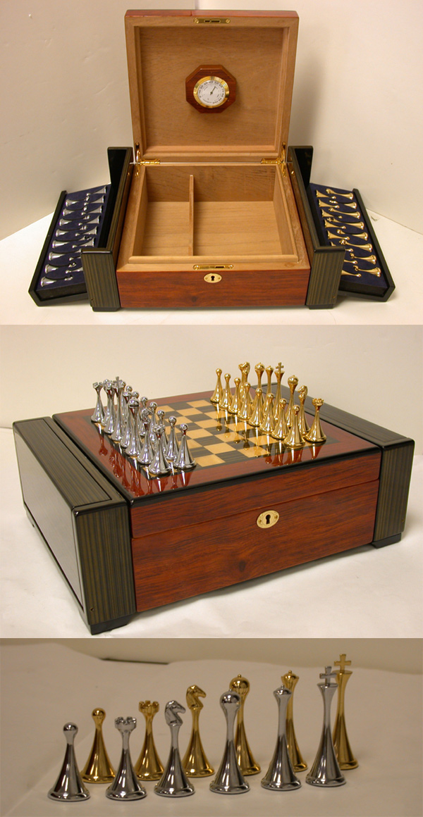 High Gloss Chess Set & Humidor With 32 Gold SIlver Plated Chessmen.