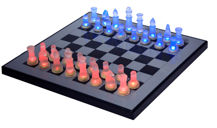 LED Illuminated Glass Chess Set - Totally Unique