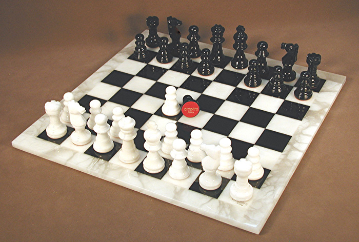 White & Black Alabaster Chess Set.