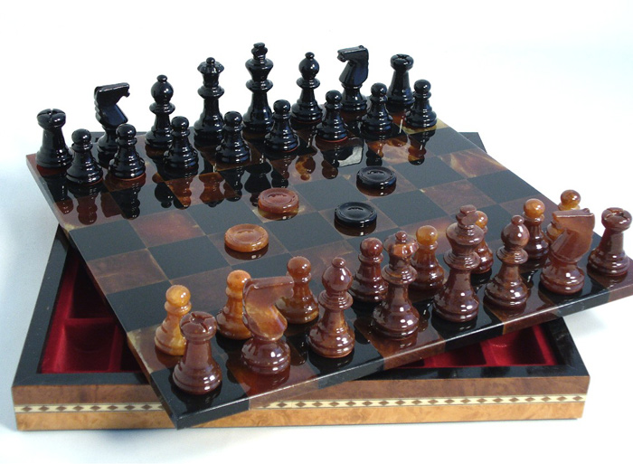 Black & Brown European Alabaster Chess Set with Storage Compartment for Chess Pieces.