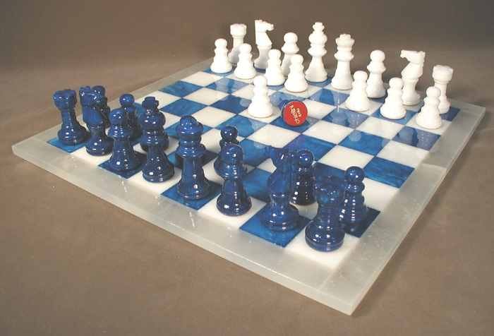 Blue & White Alabaster Chess Set from Italy
