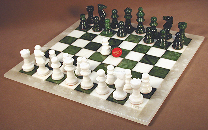 Alabaster Stone Green & White Chess Set with White Frame