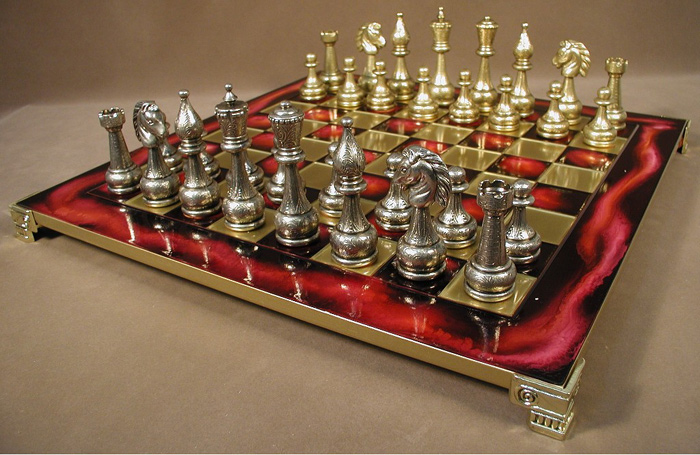 Red Enamel Chess Set Accented With Br Metal