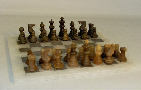 Alabaster Chess Set- Translucent Brown and Ash Chess Set with Matte Finish