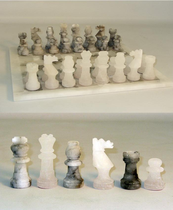 Alabaster Chess Set- Spiral Grey & White.