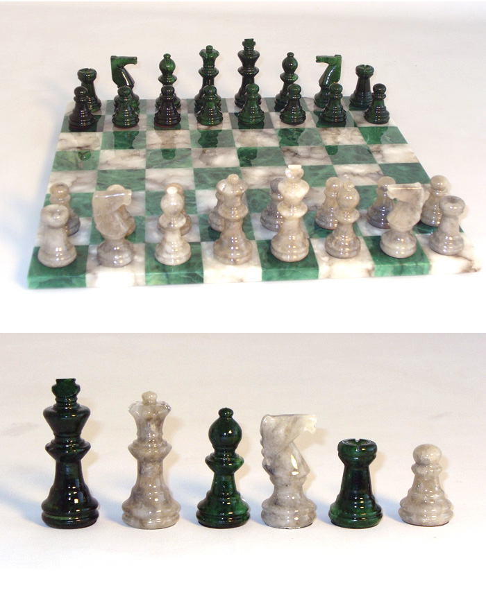 Alabaster Chess Set- Green & Grey with Unframed Chessboard