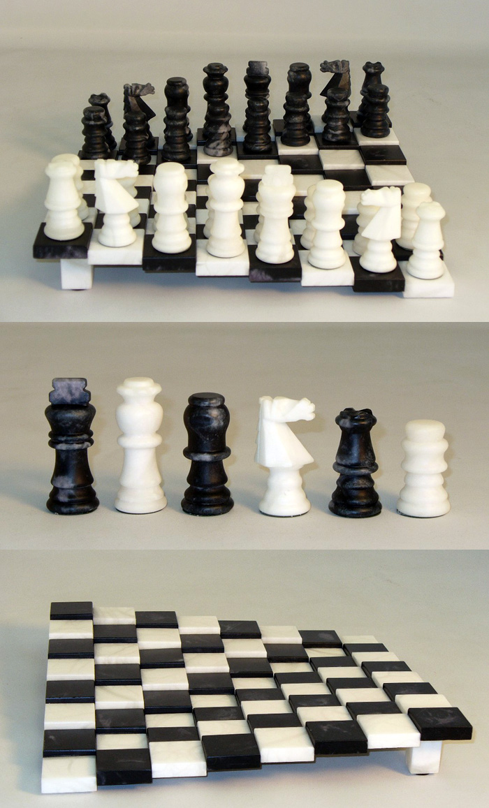 Alabaster Set- Black and White with Tiered Board- Matte Finish