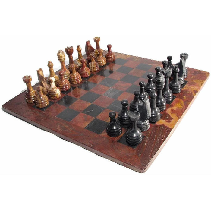 Marble Chess Set Black & Red