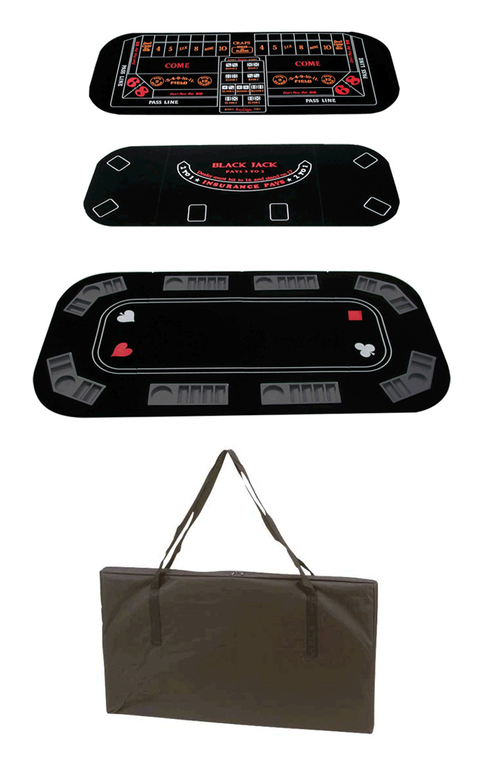 3 in 1 Texas Hold'em, Craps and Black Jack Tabletop Game Set With Carrying Case
