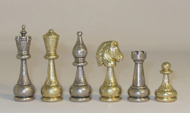 Staunton Brass & Metal Chessmen Set