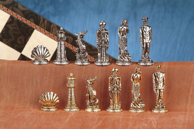 Nautical Pewter Chessmen Set.