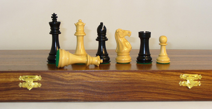 4 inch Imperial Double Weighted Ebonized Staunton Chess Pieces with Felted Slides