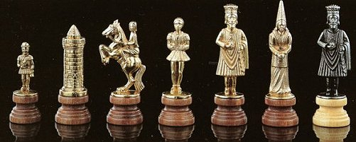 Camelot Theme Brass and  Wood Chess Pieces