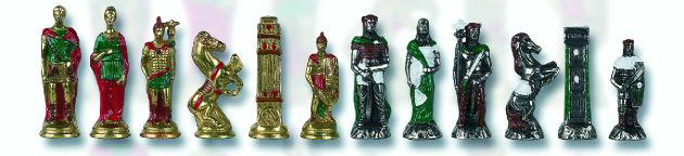 Roman Hannibal  Hand Painted Chess Pieces.