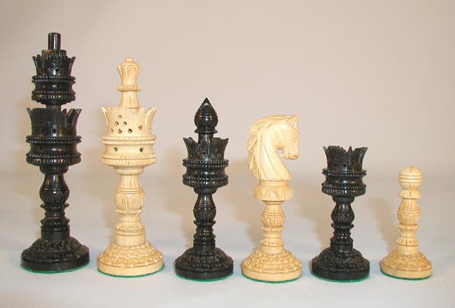 Hand Carved Ebony & Boxwood Lotus Chessmen Set.
