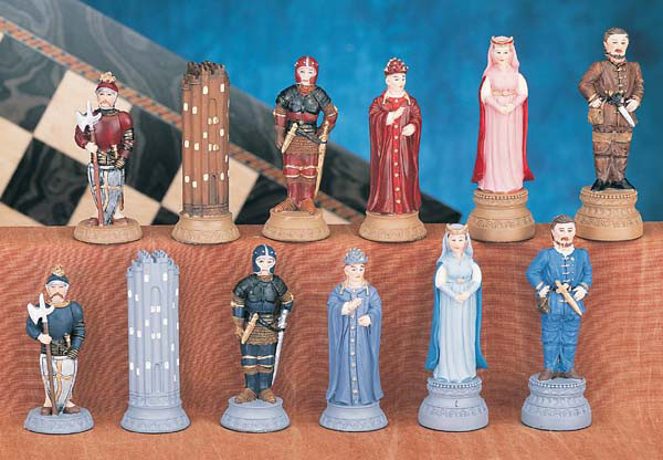Polyresin Two Tone  Medieval Chess Pieces