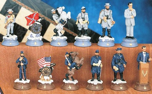 Hand Painted United States Civil War Chess Pieces