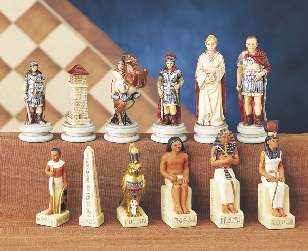 Hand Painted Poly Resin  Egyptian Chess Pieces