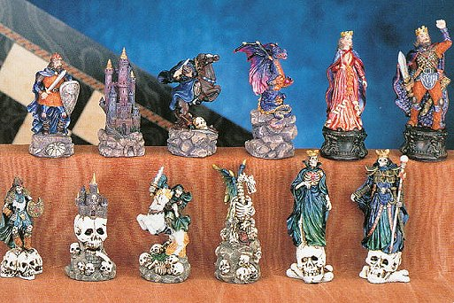 Hand Painted Fantasy Chess Pieces