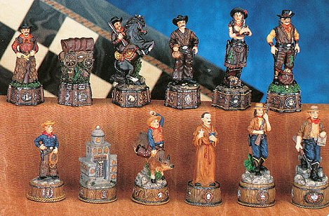 Hand Painted Wild West Hand Painted Chess Pieces