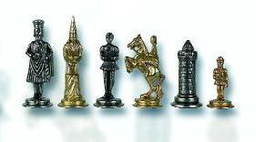 Gothic Brass & Metal Chessmen Set.