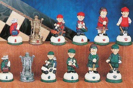Hand Painted Golf Theme  Chess Pieces.
