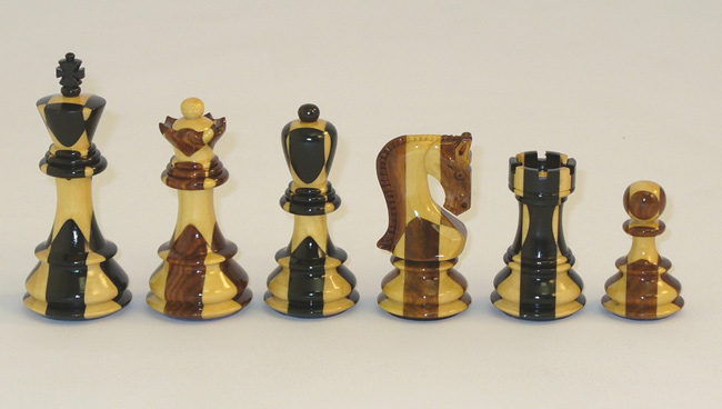 Russian Staunton Chess Pieces, Inlaid Sheesham With Ebony Lacquered Triple Weighted & leather Pads.