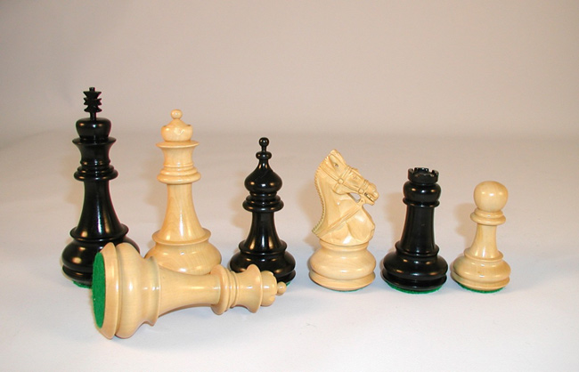 4  Inch Ultimate Bridle Knight Triple Weighted Ebony Wood Staunton Chess Pieces