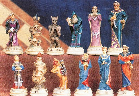 Justice vs Evil, Mythological  Hand Painted Chess Pieces