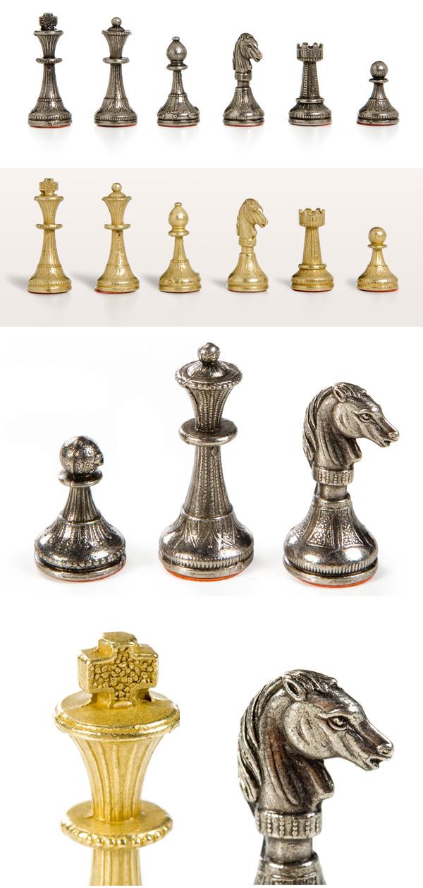 Florentine Staunton Brass & Silver Chessmen Set.